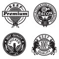 Collection of grill labels four monochrome Royalty Free Stock Image