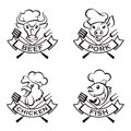 Collection of grill labels four monochrome Royalty Free Stock Photos