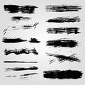Collection of grunge black ink banners and blots on white background Royalty Free Stock Photo