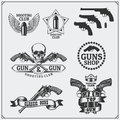 Collection of Gun club emblems, labels and design elements. Revolvers, bullets and target. Royalty Free Stock Photo