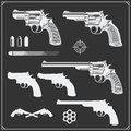 Collection of Guns. Revolvers, Bullets and target. Royalty Free Stock Photo