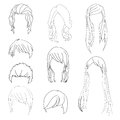 Collection Hairstyle for Man and Woman Hair Drawing Set 1. Vector illustration