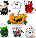 Collection of halloween creatures Royalty Free Stock Images
