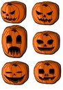 Collection of halloween pumpkin lanterns Stock Image