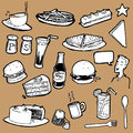 Collection hand drawn digitized illustrations food items commonly found cafeteria menu Stock Photos
