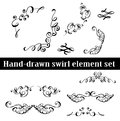 Collection of hand drawn ink curls