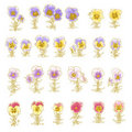 Collection of hand-drawn pansy Royalty Free Stock Image