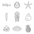 Collection of hand drawn sea creatures in modern mono line style on isolated white background vector starfish jellyfish fish Royalty Free Stock Photo