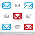 Collection of hand-drawn simple vector mail icons, set Royalty Free Stock Photo
