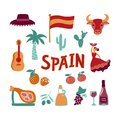 Collection Hand drawn symbols of Spain.