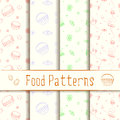 Collection of hand drawn vintage dessert food vector patterns