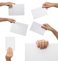 Collection of hand holding blank paper isolated Royalty Free Stock Photo