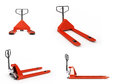 Collection of Hand pallet trucks 3d render on white Royalty Free Stock Photo