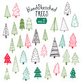 Collection of hand sketched Christmas trees