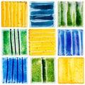 Collection of handmade glazed ceramic tiles