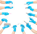 Collection of hands holding dental tools Royalty Free Stock Photo
