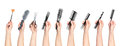 Collection of hands holding tools for hair salon Royalty Free Stock Photo