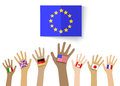 Collection of hands with national flags, isolated in white backg Royalty Free Stock Photo