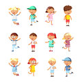 Collection of happy children. Group of preschool children.