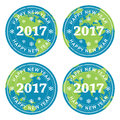 Collection of happy new year 2017 rubber stamps on earth, vector Royalty Free Stock Photo