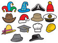 Collection of hats jester hat bucket hat ladys hat cowboy hat fedora hat santa claus hat construction workers hard hat military Stock Photo