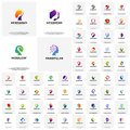 Collection of Head intelligence logo designs concept vector, Head Tech, Colorful Mind, Nature Head, Head Heal, Heat gear, head lov