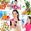 Collection of healthy life style Royalty Free Stock Photos