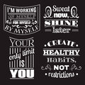 Collection of healthy quotes typographical background