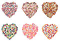 Collection of hearts filled with different shapes Stock Photo