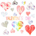 Collection of hearts  painted in watercolor for Vale Royalty Free Stock Photo