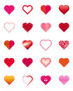 Collection of hearts set twenty heart icons illustration Stock Photography
