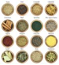 Collection of herbs and spices metal bowls full Royalty Free Stock Photography