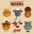 Collection of hipster cartoon character animals fox sheep horse mouse cow and wolf with accessories isolated vector illustration Stock Photo