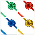 Collection of holiday colored bows with ribbons. Stock Photos