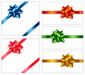 Collection of holiday colored bows with ribbons. Stock Photography