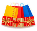 Collection of holiday shopping bags and gift boxes Royalty Free Stock Photography