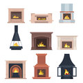 Collection of home different fireplaces to paste in the interior of the house phone or computer games. Vector