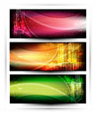 Collection horizontal headers abstract banners with colorful elements Stock Photo