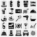 Collection of hotel vector icons set isolated on grey background eps file available Stock Images