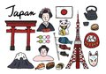 Collection of iconic symbols of Japan Royalty Free Stock Photo