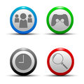 A collection of icons depicting four search community and watch the game watches games Royalty Free Stock Photography