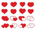 Collection of icons with hearts vector illustration Stock Photo