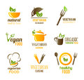 Collection icons symbolizing vegetarian natural food Stock Photos