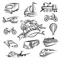 Collection of icons of transport Stock Photos