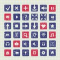 Collection of icons web design elements set vector blue and red sketch in a box or buttons hand drawn in ink on a sheet notebook Royalty Free Stock Image