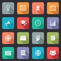 Collection of internet education icons with a long shadow on colorful buttons vector illustration Stock Image
