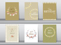 Collection of invitation or birthday card with floral frame ,Vector illustrations