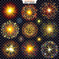 Collection of Isolated Fireworks, Sparks, Explosions Royalty Free Stock Photo