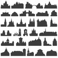 Vector collection of isolated palaces, temples, churches, cathedrals, castles, city halls, edifices, ancient buildings and other