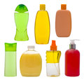 Collection of isolated shampoo bottles and soap dispensers Royalty Free Stock Photo